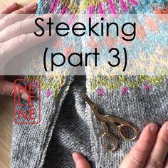 Traditional Icelandic steek on my Gamaldags lopi sweater Fair Isle Knitting Patterns, Loom Knitting Projects, Knitting Videos, Knitting Stitches, Free Knitting, Tejido Fair Isle, Motif Fair Isle, Icelandic Sweaters, Tutorials