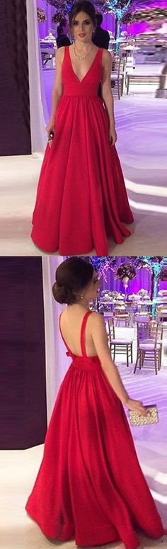 A-Line Deep V-Neck Long Backless Red Satin Prom Dresses with.- A-Line Deep V-Neck Long Backless Red Satin Prom Dresses with Bow, A-Line Deep V-Neck Long Backless Red Satin Prom Dresses with Bow, - Red Formal Dresses, Prom Dresses 2018, Cheap Prom Dresses, Evening Dresses, Elegant Dresses, Wedding Dresses, Red Satin Prom Dress, Dress Prom, Dress Long