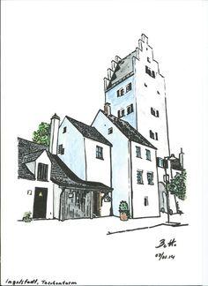 Ingolstadt, Taschenturm-II - Tusche aquarelliert, ink watercolor, encre - 21 x 30 cm