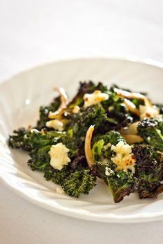 Roasted Kale with Crumbled Feta #recipes #vegetarian #food