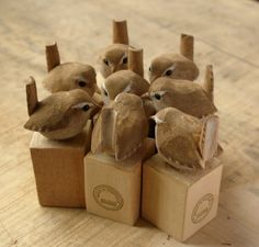 As promised a wren group-hug to celebrate not being naked anymore. It didnt matter so much before they had eyes! These along with others are for sale in my shop for all you nice people to Wood Block Crafts, Wood Crafts, Wood Projects, Woodworking Projects, Wood Carving Patterns, Wood Carving Art, Wood Art, Whittling Wood, Chip Carving