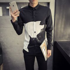 Find More Casual Shirts Information about European Style Simple Animal Print Men Shirt 2016 New Long Sleeve Slim Fit Collared Dress Shirt Fashion Plus Size Casual Shirt,High Quality shirt and tie set,China shirt Suppliers, Cheap shirt studs from Eric's on Aliexpress.com