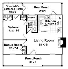 a slightly different floor plan, only one bedroom but a bonus room for a growing room for my vegetables ~!~  600 sq ft 30' x 32' .  Not sure I want a fireplace either but we will see.