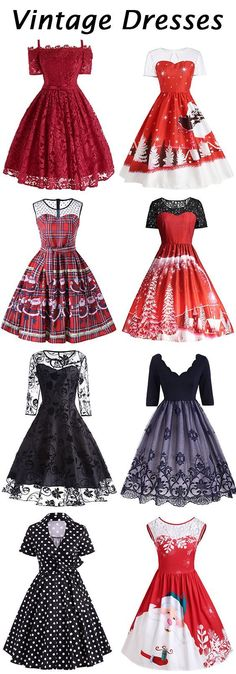 Christmas Vinatge dresses to inspire yourself.high quality and comfortable material.Free Shipping Worldwide!
