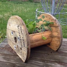 Wire spool with greens planted in center,