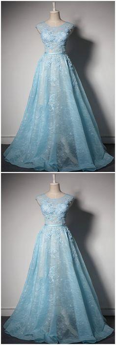 Prom Dresses,Ice blue lace round neck customize long senior pageant prom dress #modestpromdress #newpromdress #2018fashions #newstyles #lace