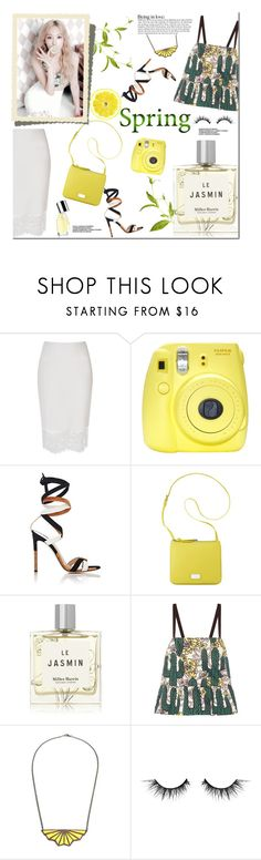 """""""Spring Perfume"""" by junglover ❤ liked on Polyvore featuring River Island, Fuji, Gianvito Rossi, Nine West, Miller Harris, Markus Lupfer, MANOLO and Illamasqua"""