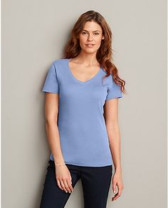 Favorite Short Sleeve V-Neck T-Shirt   Eddie Bauer