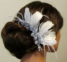 Bridal headpiece, feathers,Rhinestone comb, Bridal Hair Comb, Bridal comb, Wedding hair accessory, bridal hair accessory