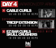 Today you do not need a day off. you just started. DTP Arms: Hey guys, so this is what we call Variation Day. It will change week to week depe Lifting Workouts, Fit Board Workouts, Gym Workouts, At Home Workouts, Workout Days, Biceps Workout, Fitness Facts, Fitness Motivation, Fitness Tips
