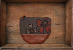 "This beautiful Large size Kimono × Leather Wallet is made of my favorite Flower motif Vintage Japanese woven "" Kasuri "" Kimono fabric ( 100% Silk ) and Beautiful Italian brown leather."