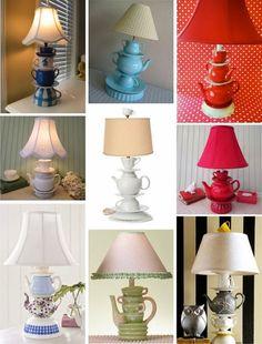 teacups, lamp