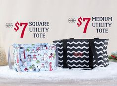 Thirty-One November Customer Exclusive Items! The Square Utility Tote and Medium Utility Tote! Thirty One Totes, Thirty One Party, Thirty One Gifts, 31 Gifts, 31 Bags, Utility Tote, Medium Tote, 3 In One, Baby Toys