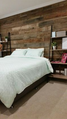 timber feature wall bedroom