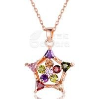 Barbara丨Multicolor AAA Cubic Zircon 18K Gold Plated Star Pendants Necklaces