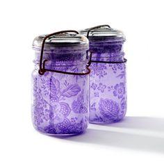 set of two vintage atlas & ball glass top mason jars .. handmade solar lights : pint size decoupage - purple floral lace. $30.00, via Etsy.