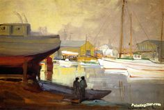 San Pedro Harbor Artwork by Franz Bischoff Oil Painting & Art Prints on canvas for sale - PaintingSTAR.com Art Online Store