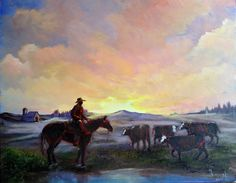 Checking the Herd an original sunset oil painting by Highway22, $250.00