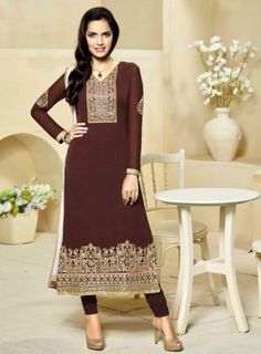 #Coffee and #Cream Georgette #StraightCut #Suit On georgette fabric with fine embroidery and stone work along with santoon bottom and a chiffon soft dupatta.