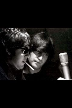 The Beatles | recording studio | vintage | black & white photography | smoke | light and shade | iconic | brilliant | wow