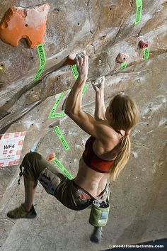 Indoor Climbing. Look at the muscles in this woman's upper arms and forearms. This is great exercise.