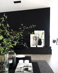 Bringing some spring inside too🌿👌🏻 Black Accent Walls, Accent Walls In Living Room, Black Walls, Home Living Room, Living Room Designs, Living Room Decor, Living Spaces, Interior Design Plants, Interior Inspiration