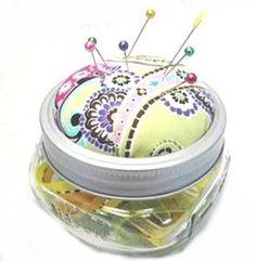Canning jar pincushion