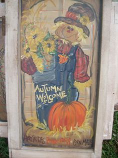 Hand painted scarecrow n pumpkins by csims