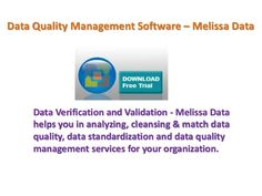 Data Verification and Validation - Melissa Data, Data Quality Components for Pentaho helps you in analyzing, cleansing & match data quality, data standardization and data quality management services for your organization.http://www.melissadata.in/plugins/pentaho.htm