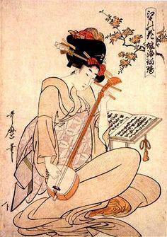 Geisha con shamisen, by Kitagawa Utamaro (Japanese, 1753–1806)