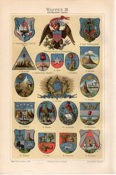 1897 American States Coat of Arms Print United by Craftissimo