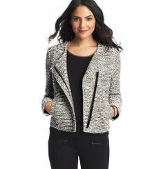 Textured Tweed Moto Jacket | Loft