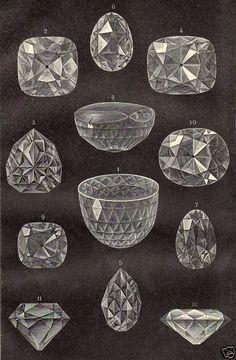 Antique print gravure litho diamanten diamant 1904 nl.picclick.com