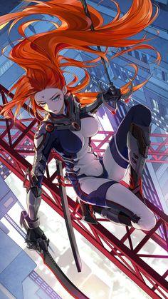 Anime girl with sword: Original character [digital drawing by Keikoku (kujira)] Fan Art Anime, Anime Art Girl, Manga Art, Manga Anime, Fantasy Girl, Anime Fantasy, Final Fantasy, Fantasy Character Design, Character Inspiration