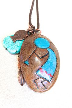 Kokopelli Necklace, aromatherapy native american necklace southwestern jewelry zuni tribal jewelry essential oil copper feather turquoise by FunNFiber on Etsy