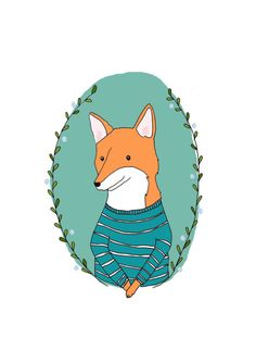 Mr Fox Portrait  Illustrated Art Print by StacieSwift on Etsy