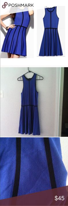 Parker Blue Cobalt Skater Dress Black Piping Parker cobalt blue skater dress with black piping Parker Dresses Mini