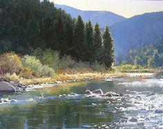 Gilded by Kathleen Dunphy Oil ~ 24 x 30 Watercolor Landscape, Landscape Art, Landscape Paintings, Beautiful Paintings, Beautiful Landscapes, River Painting, Country Landscaping, Landscaping Ideas, Art Oil