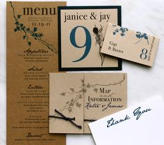 Hand Written Note Rustic Menu Cards Table Numbers & by BeaconLane