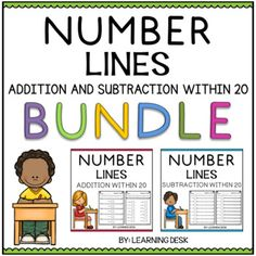Number Line Addition and Subtraction-Distance Learning Packet First Grade Counting Money Worksheets, 1st Grade Math Worksheets, Fractions Worksheets, Number Line Subtraction, Addition And Subtraction Worksheets, Cut And Paste Worksheets, Task Cards, First Grade, Teacher