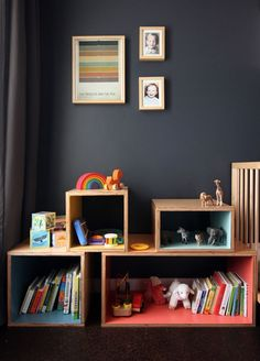 Box shelves for the kids room. Cute kids storage.