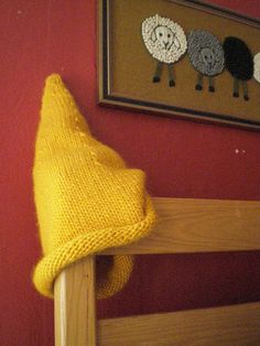 Oblio's Cap Needle: size 9, dp. (circ's would work, too) Yarn: 2 skeins Lamb's Pride Bulky, Mustard Yellow Other accessories: blunt...