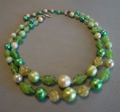 Vintage Japan Necklace Lime Green 2 strands by EyeCandyAntiques, $19.00