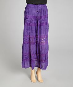 Take a look at this Purple Crocheted Lace Maxi Skirt on zulily today!