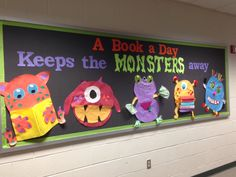Discover thousands of images about Monster book fair theme Monster Bulletin Boards, Monster Theme Classroom, Halloween Bulletin Boards, Monster Board, Preschool Bulletin Boards, Monster Book Of Monsters, Classroom Design, Future Classroom, Classroom Themes