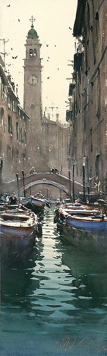 International Masters - Barges, Venice - Watercolor by Joseph Zbukvic  .Incredible light with so few strokes