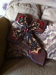 Large Brown Gold and Crimson Wood Cross by SignsBYDebbieHess
