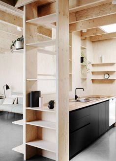 modern cabin with plywood walls and shelving / sfgirlbybay