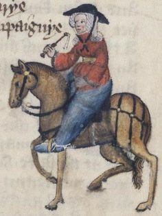 "Chaucer scholars have generally settled on April 17, 1387, as the date his pilgrims departed for Canterbury. From the fifteenth-century illustrations from the Ellesmere manuscript of ""The Canterbury Tales"": The Wife of Bath."