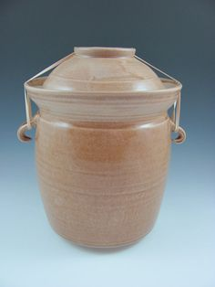 Ceramic Anaerobic Fermenting Crock with Lid and Weight (holds 12 cups) Custom Personalized Made to order, Handmde by Licia Lucas Pfadt Fermenting Jars, Fermentation Crock, Pickling Crock, Ceramic Pots, Ceramic Pottery, Expensive Art, Bokashi, Chocolate Oatmeal, Porcelain Clay